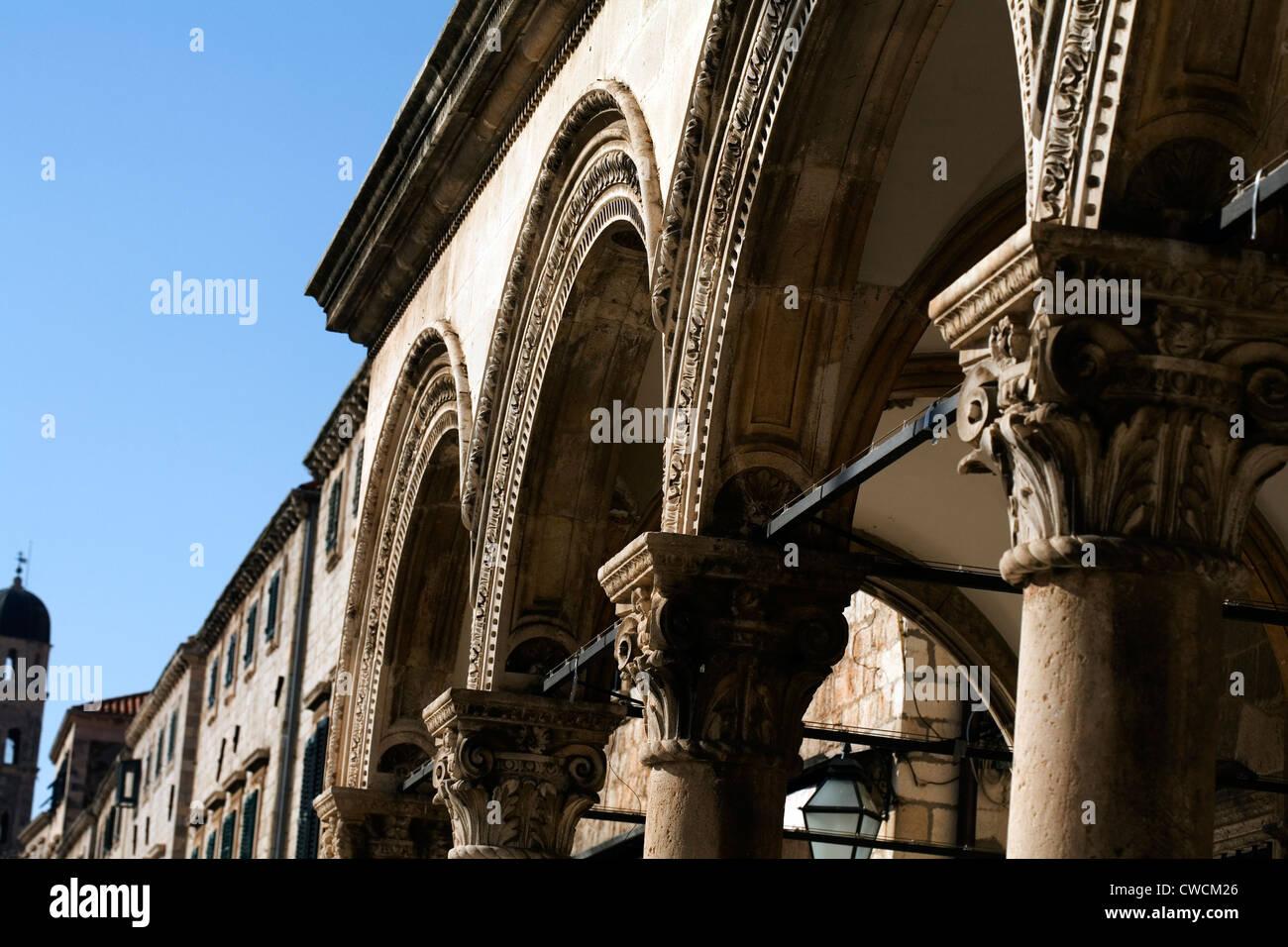 The Sponza Palace showing detail of the Venetian Gothic decoration Dubrovnik Dalmatia Croatia - Stock Image