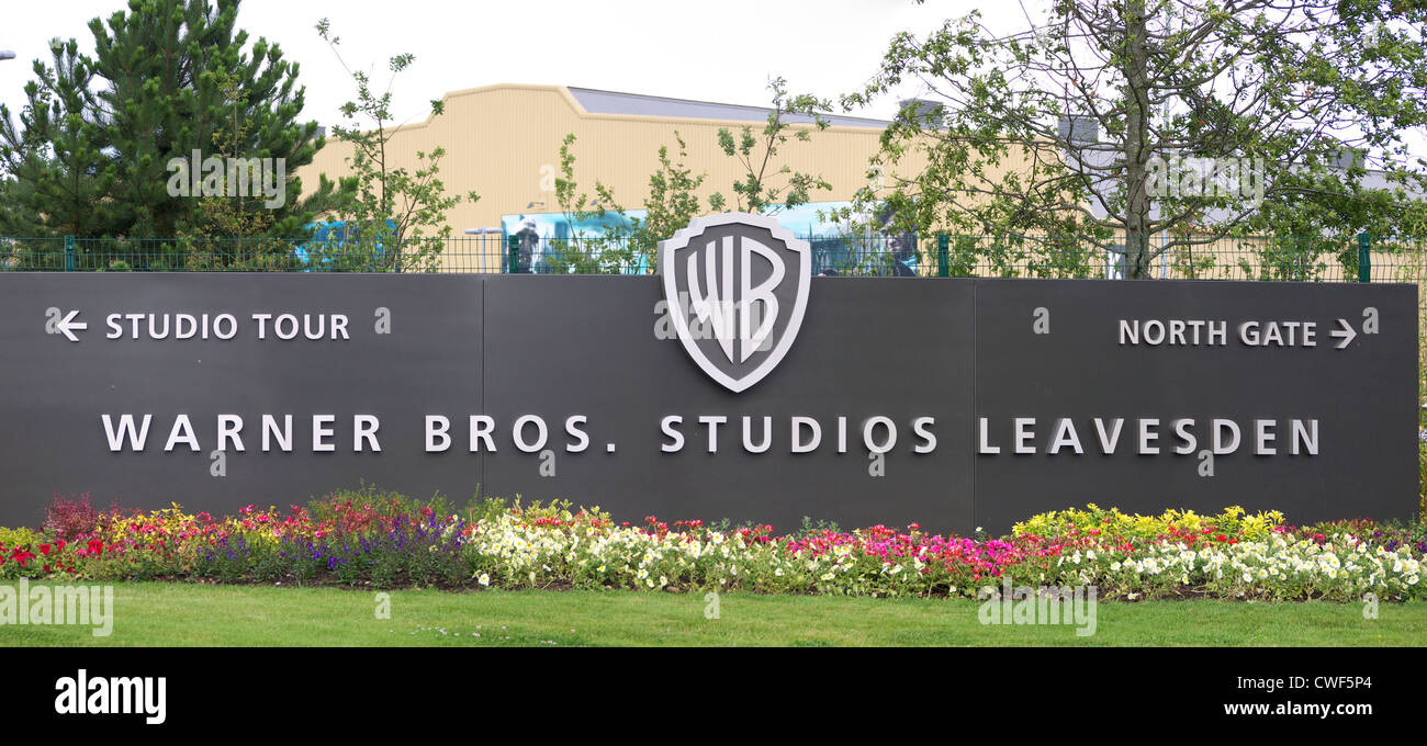 Sign at the main entrance to the Harry Potter Studio Tour at Leavesden Studios Stock Photo