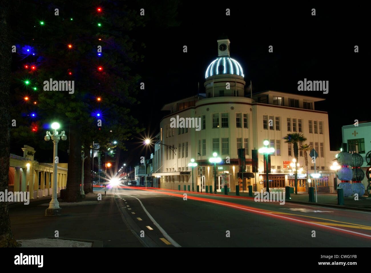 Napier at night showing The Dome on Marine Parade, Napier, Hawkes Bay, New Zealand Stock Photo