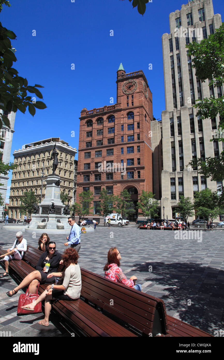 Canada, Quebec, Montreal, Place d'Armes, - Stock Image