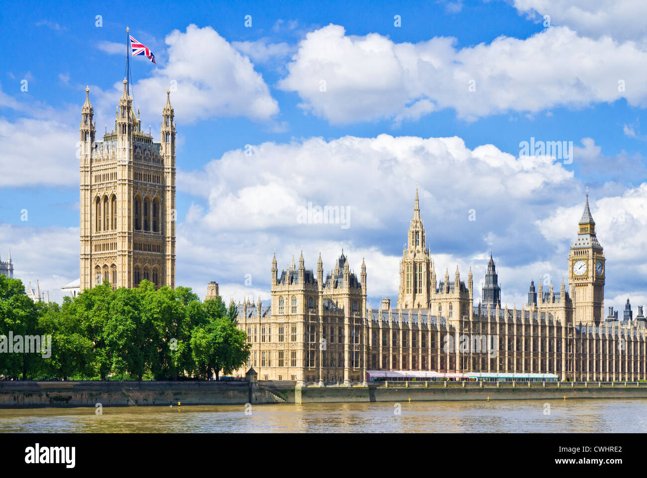 London Skyline London Houses of Parliament London Big Ben London city of london city london cityscape union flag - Stock Image