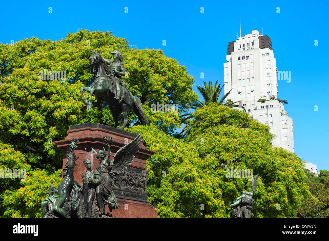 General San Martin Monument, Plaza San Martin, Buenos Aires, Argentina - Stock Image