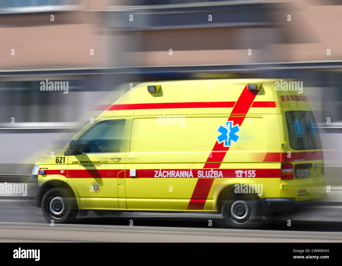Ceska sanitka - Czech ambulance car - Zachranna sluzba - Stock Image