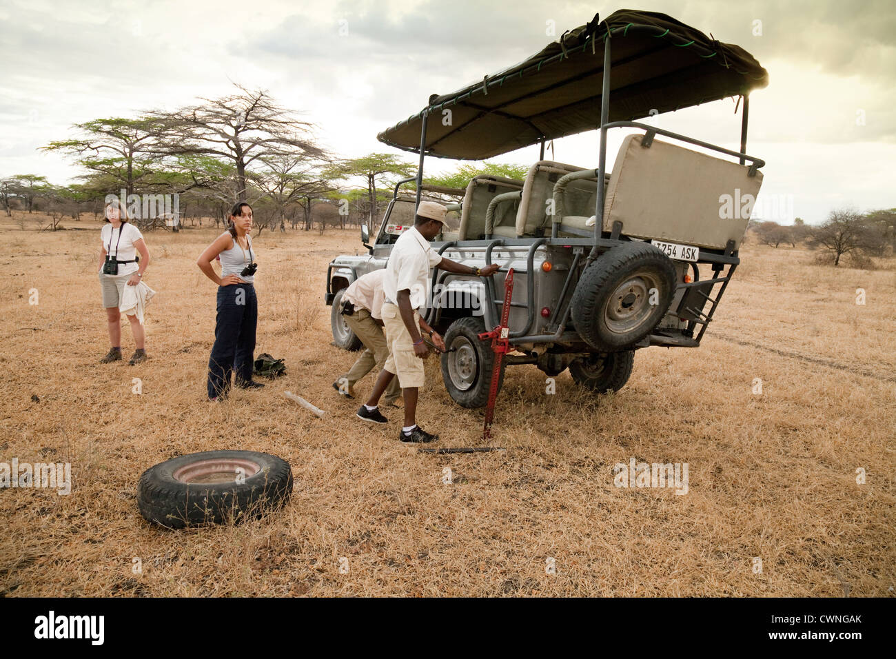 tourists-get-out-of-the-safari-jeep-while-the-guide-and-driver-change-CWNGAK.jpg