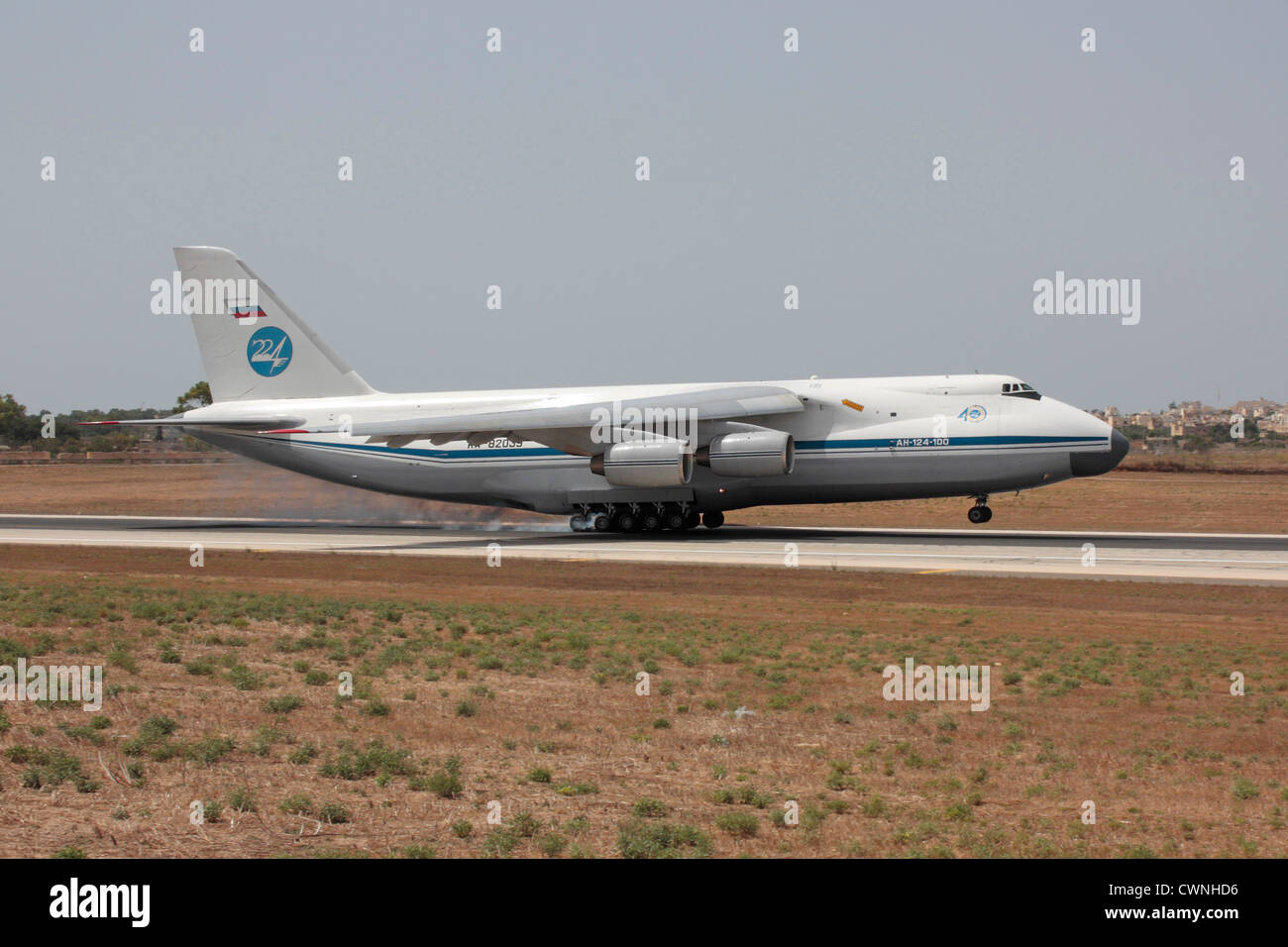 Antonov An-124 Ruslan heavy cargo jet of the Russian Air Force touching down on arrival in Malta - Stock Image