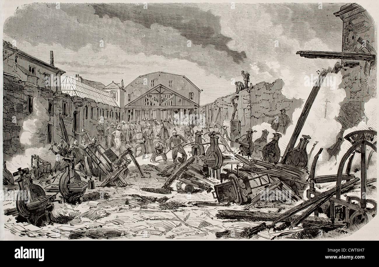 Destruction by fire of printing establishment - Stock Image