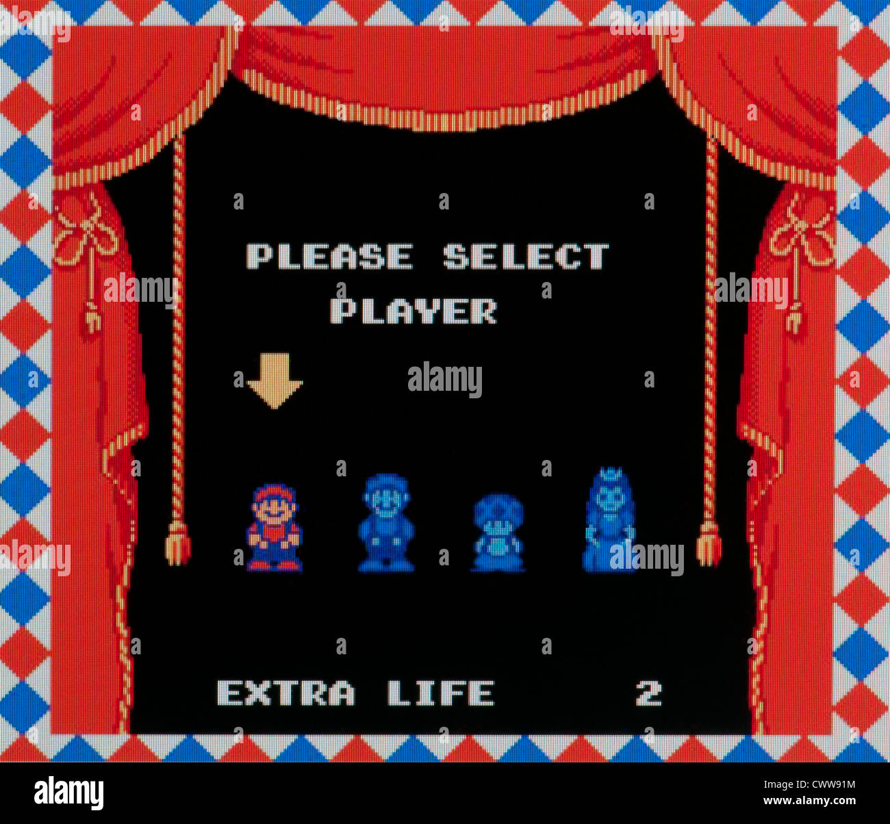 63566dc2e Super Mario video game - player select screen Stock Photo  50343040 ...