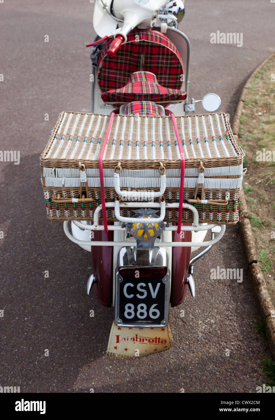 ef130711ac2 Classic Lambretta Scooter with Picnic Basket backbox Stock Photo ...