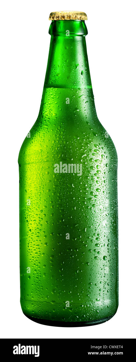 Bottle of beer isolated on a white background. File contains a path to cut. - Stock Image