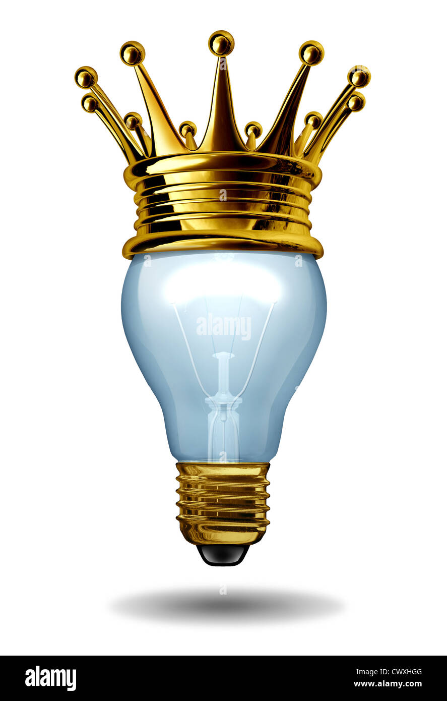 Best Ideas Concept With A Light Bulb And A Gold Crown As An Icon Of Winning  Creativity And Innovation From An Inventing Mind And Design Thinking As A  ...