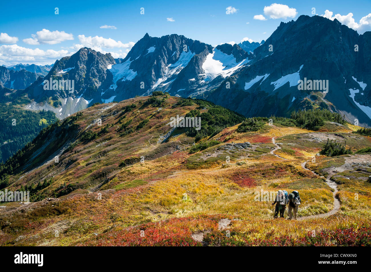 Couple with backpacks hiking on Sahale Arm Trail, Cascade Pass, North Cascades National Park, Washington. Stock Photo