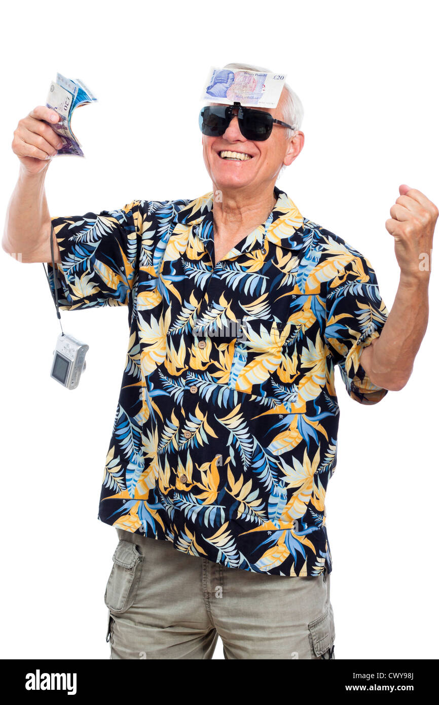 Happy wealthy senior man holding money and camera, isolated on white background. - Stock Image