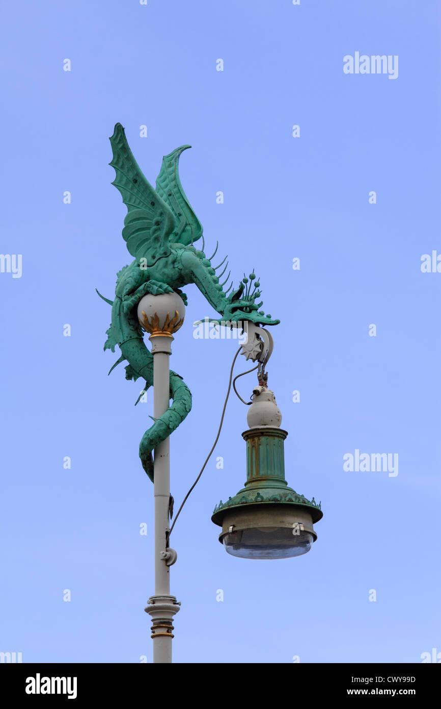 A dragon-like lamp at the harbor of Copenhagen - Stock Image