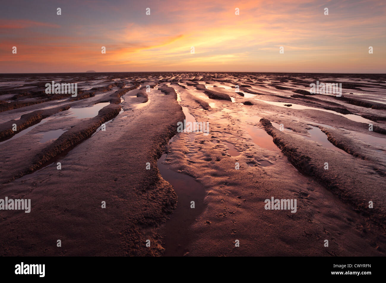 Mudflats at Sand Bay near Weston-super-Mare. Somerset. England. UK. - Stock Image
