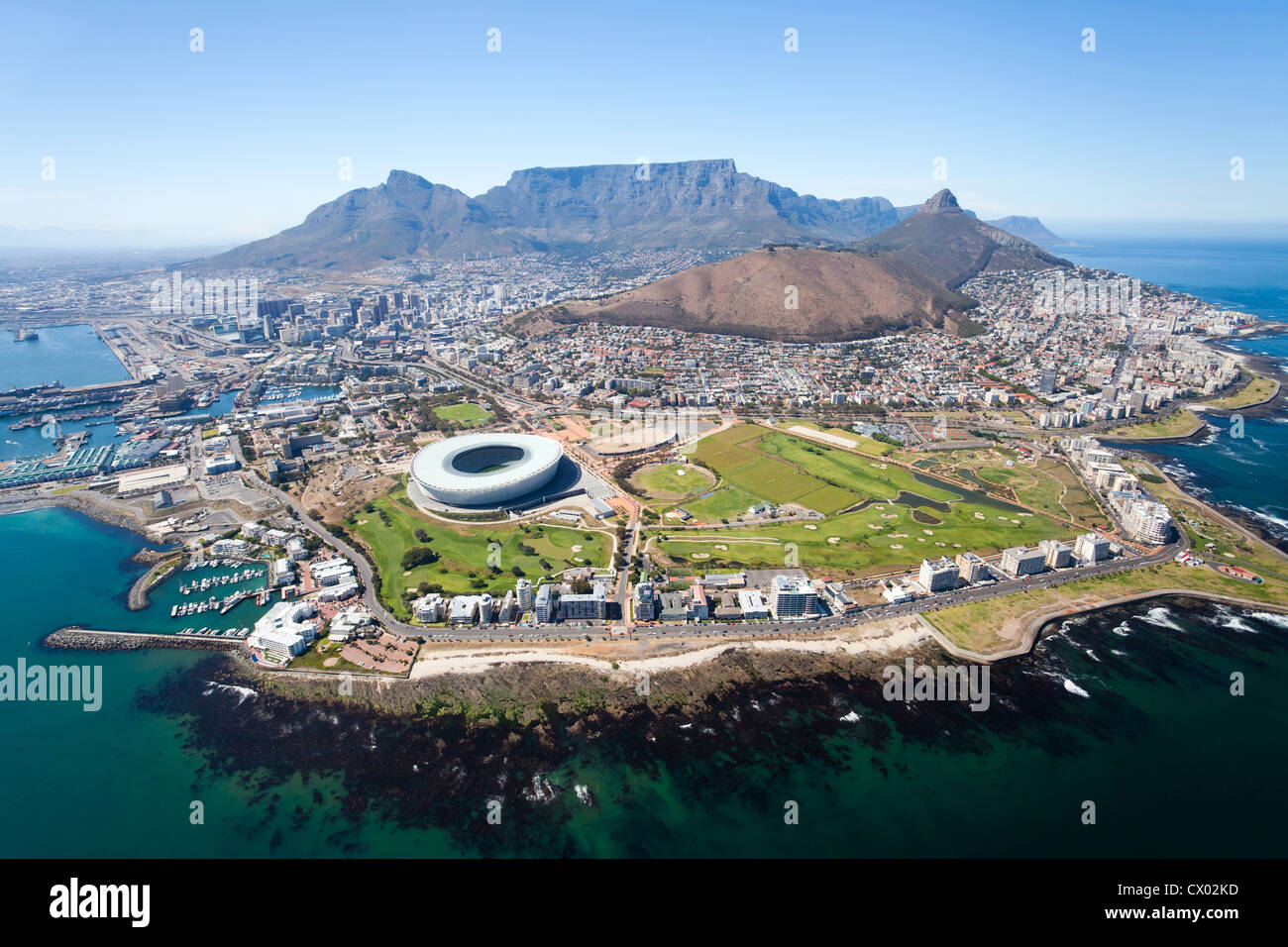 overall aerial view of Cape Town, South Africa - Stock Image