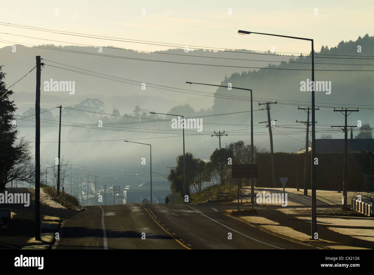Air pollution, Palmerston, East Otago, Otago, South Island, New Zealand - Stock Image