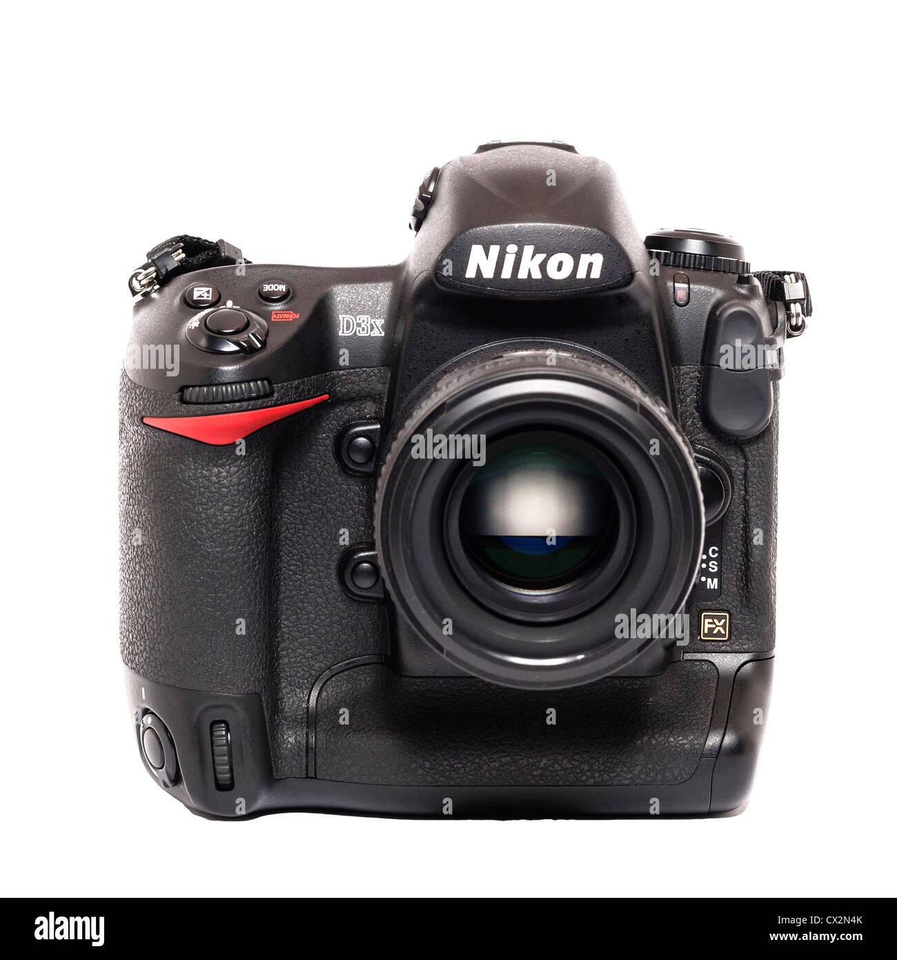 A Nikon D3x flagship model DSLR professional grade digital camera on a white background - Stock Image