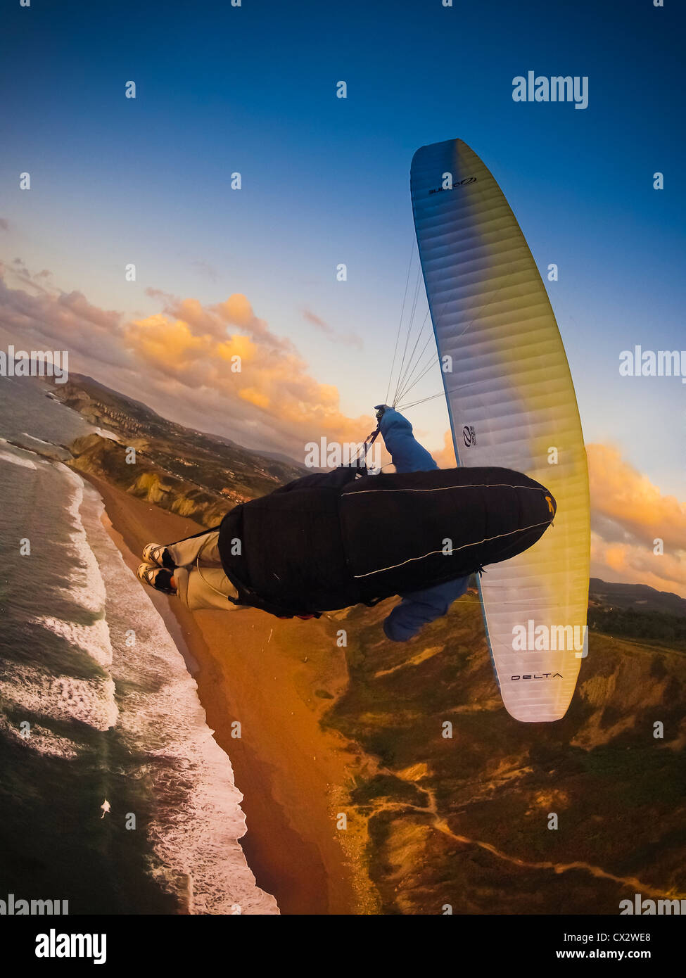 paragliding, free flying over the coast of Spain, Sopelana, Basque Country, risk, sport, dangerous,adventure, to - Stock Image