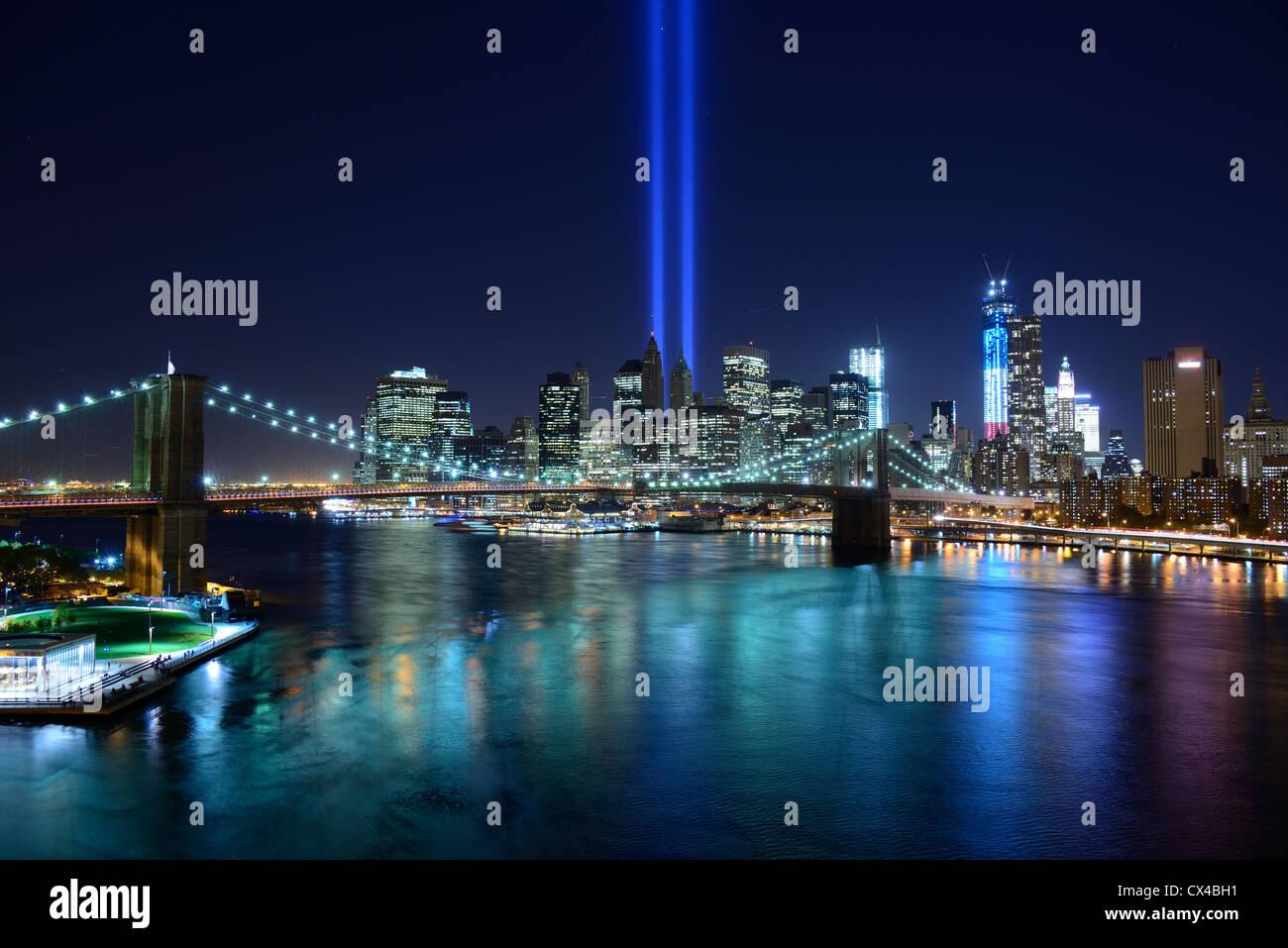New York City Skyline with Tribute of LIght Memorial for September 11 - Stock Image