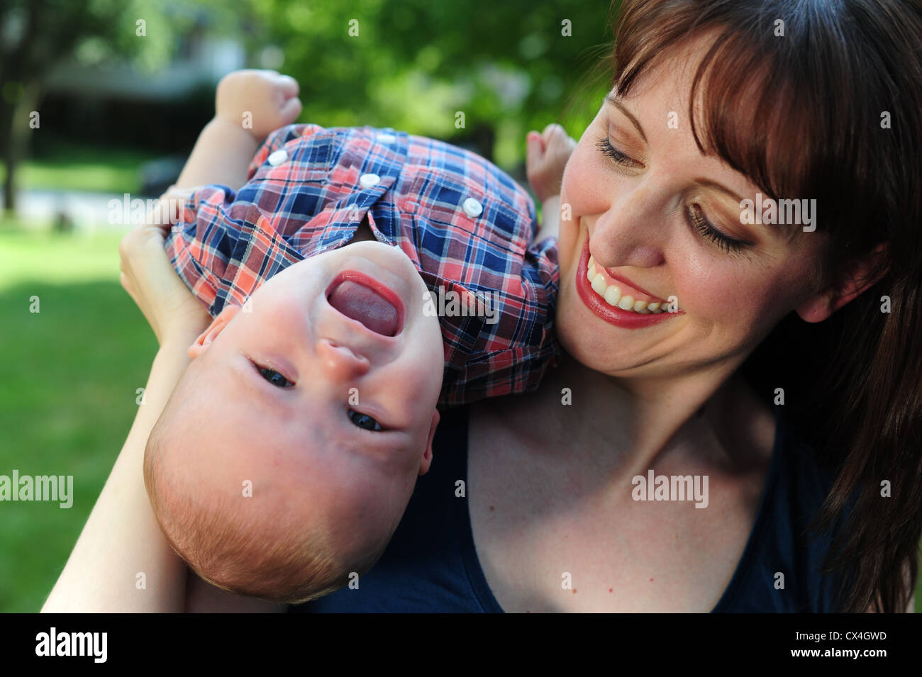 white Caucasian mother with her baby boy 7 months old Stock Photo