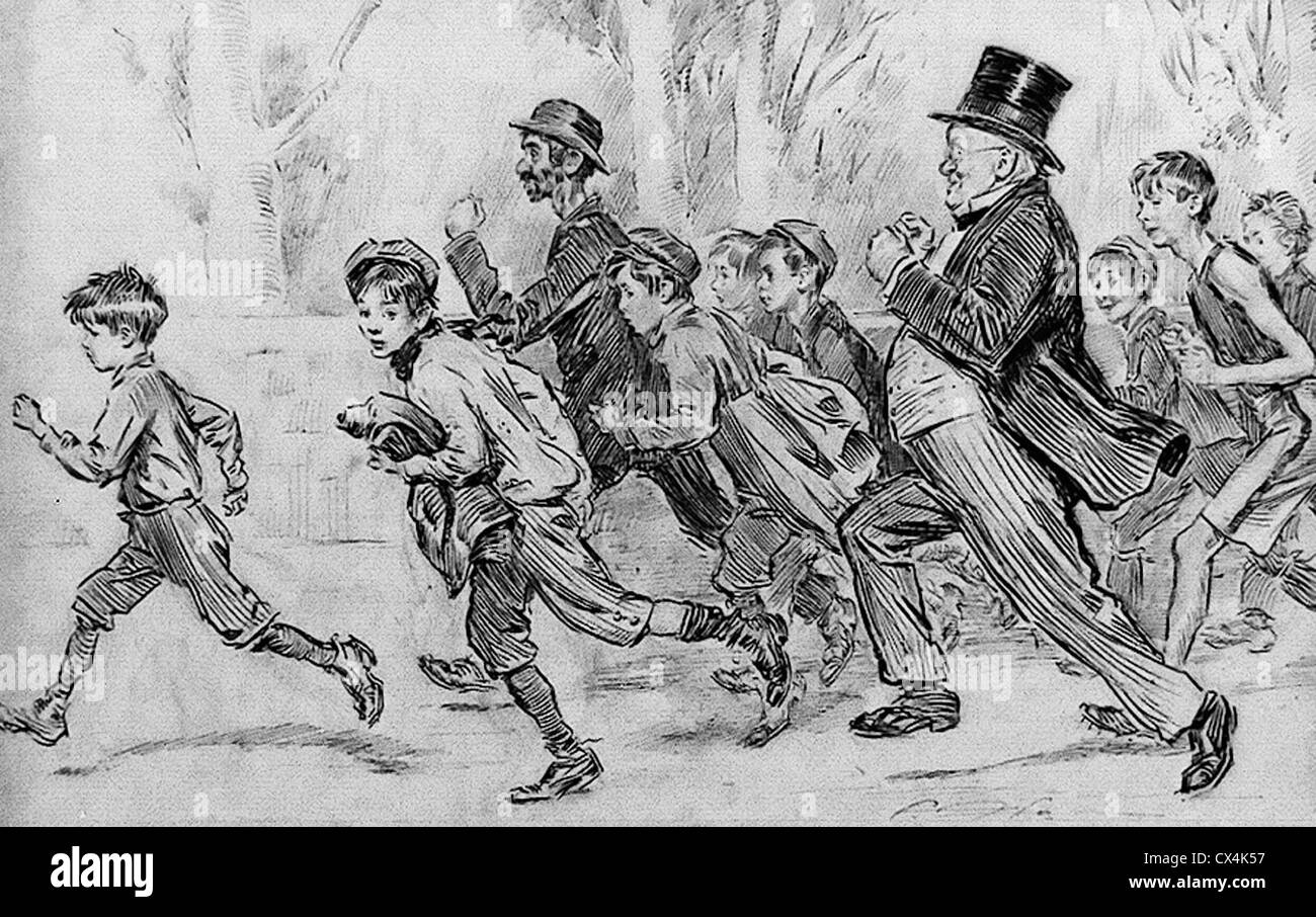 Effect Of The Marathon Craze People All Ages Running Pen And Ink Drawing Circa 1909