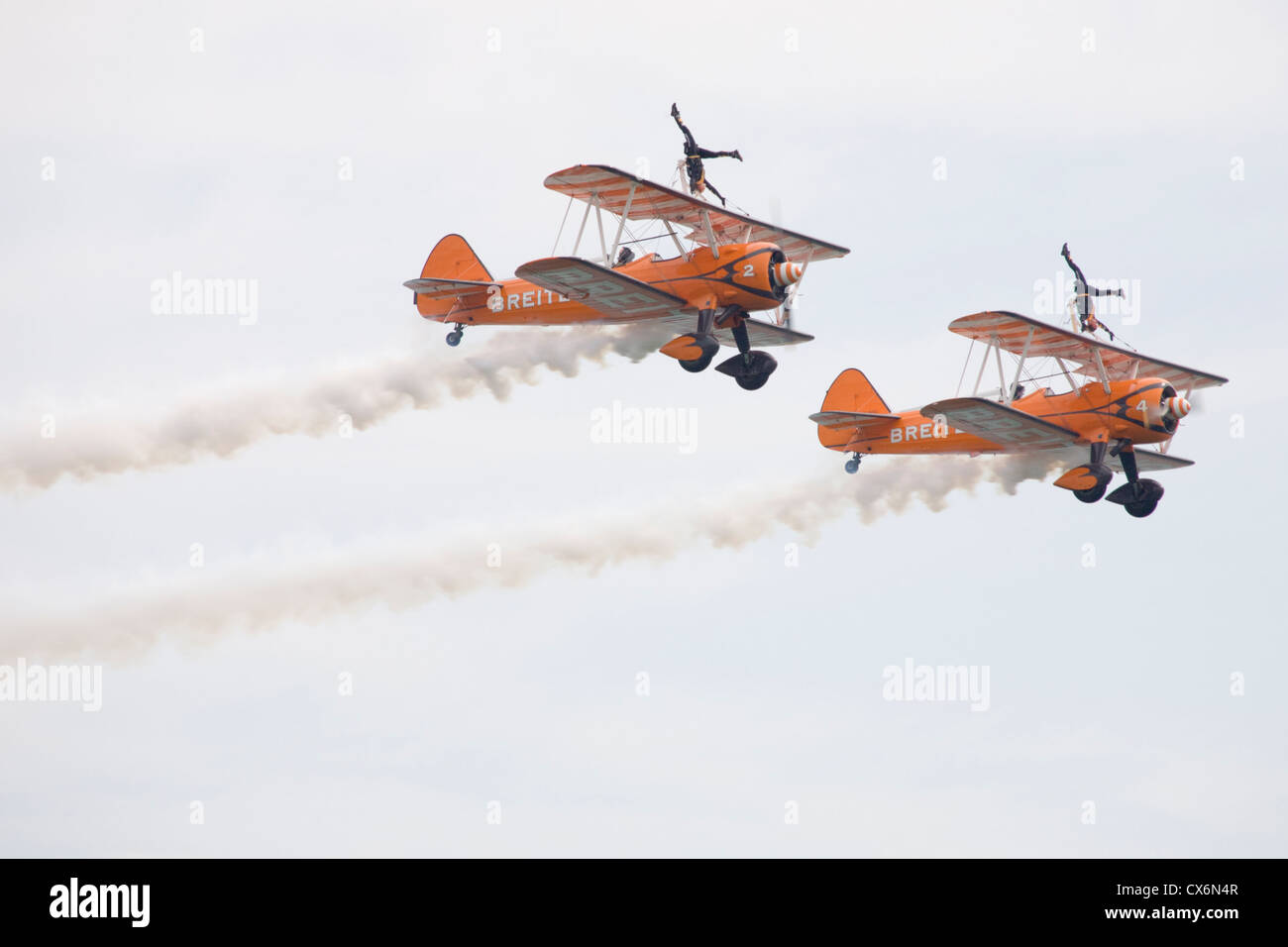 Wingwalking display team at the Bournemouth airshow 2012 - Stock Image