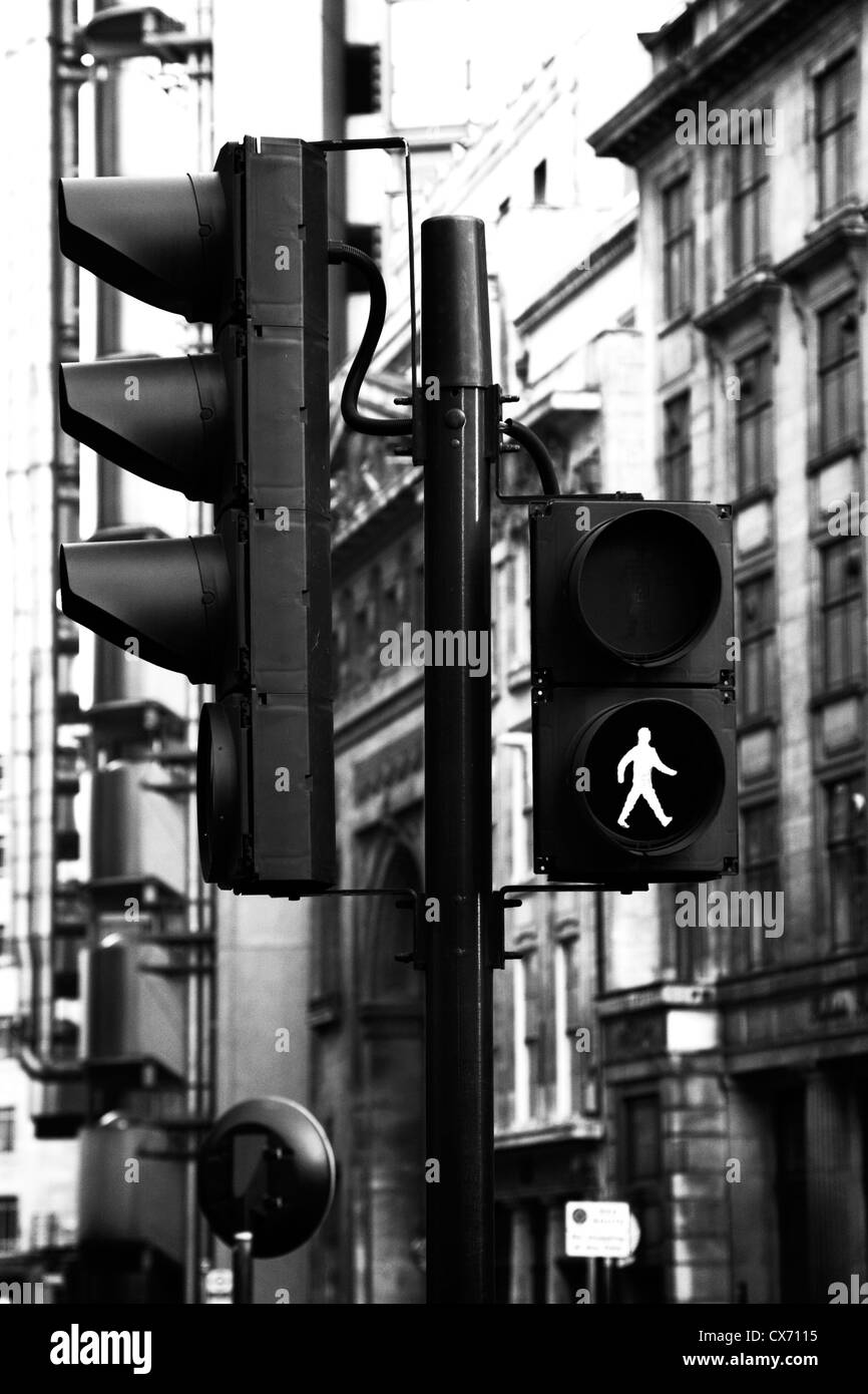 Black and White image of traffic light in london UK with green man ... for stop light black and white  51ane