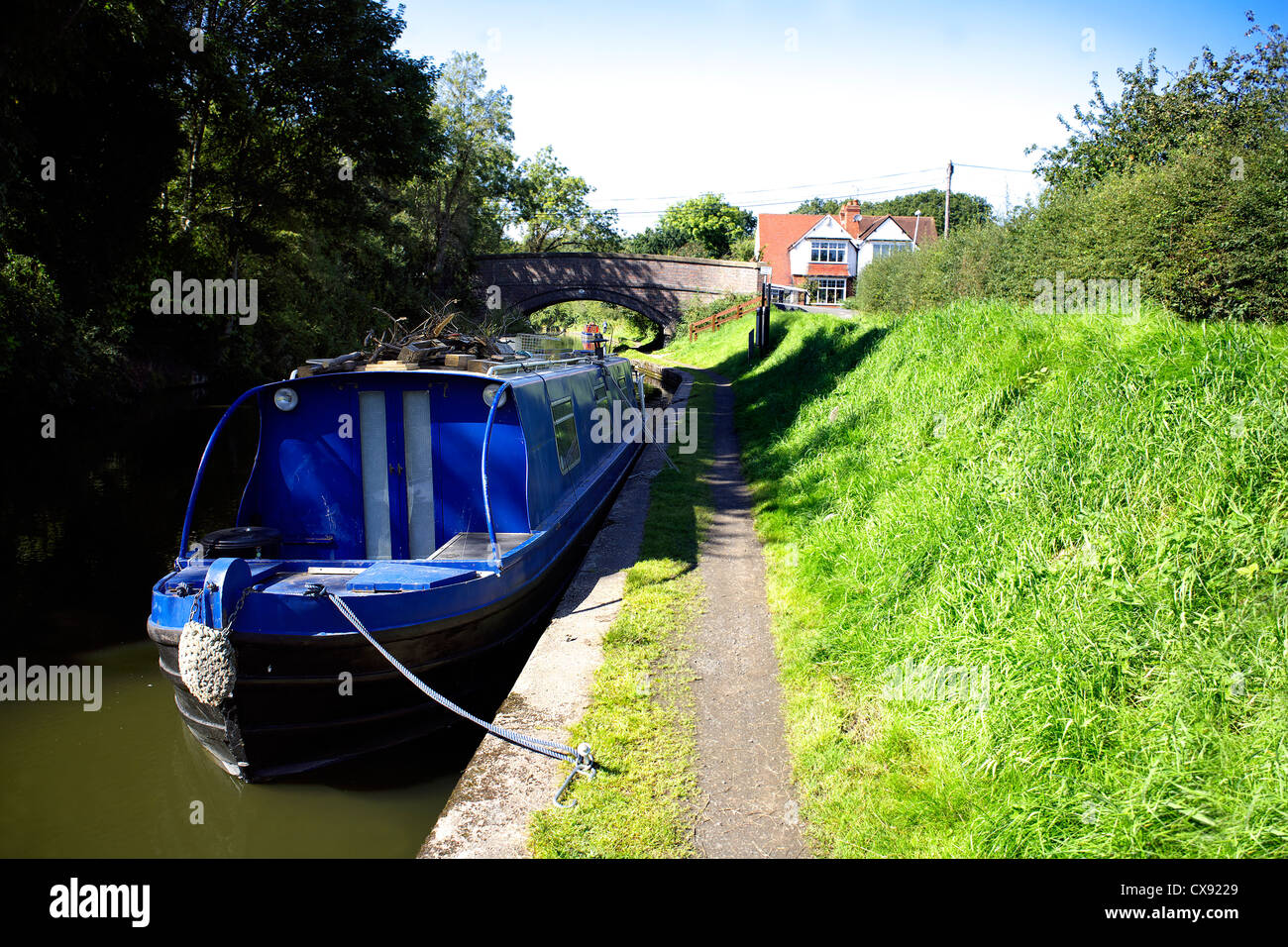 Narrowboat on the Grand Union Canal at Catherine-de-Barnes Warwickshire, England, UK, British, inland, waterways, - Stock Image