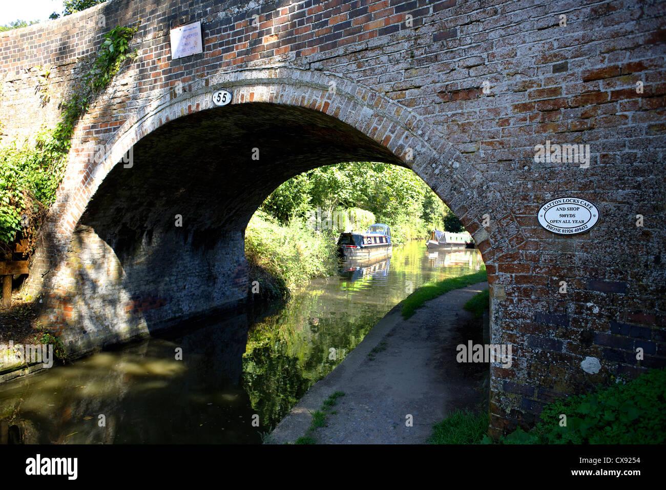 Bridge, 55 at Hatton, on, the, Grand Union Canal, Warwickshire, England, UK, Narrowboats, Narrowboat, boat, boats, - Stock Image