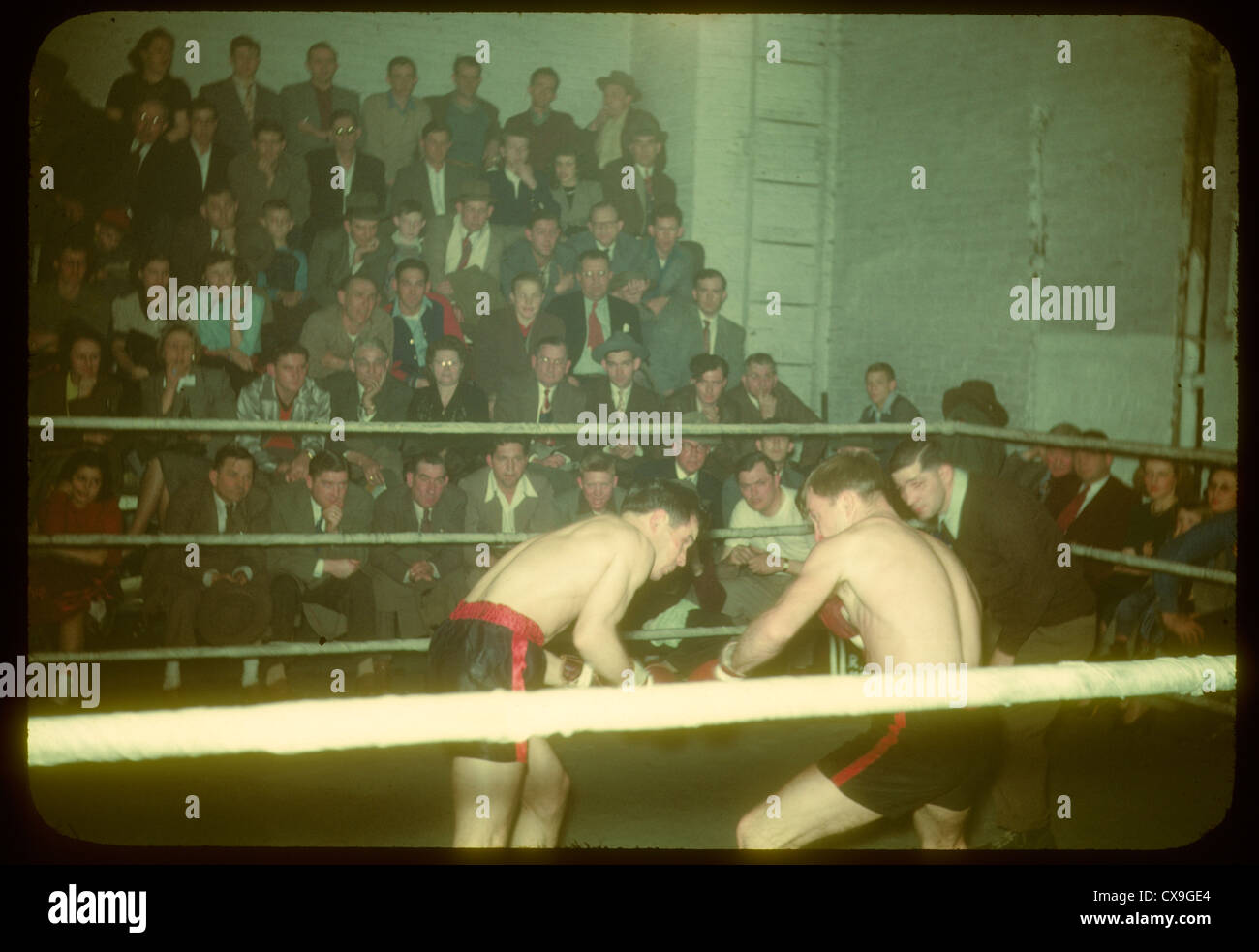 boxing match 1950 sports boxers landing blow punch color kodachrome fighters fighting fight ring audience crowd - Stock Image