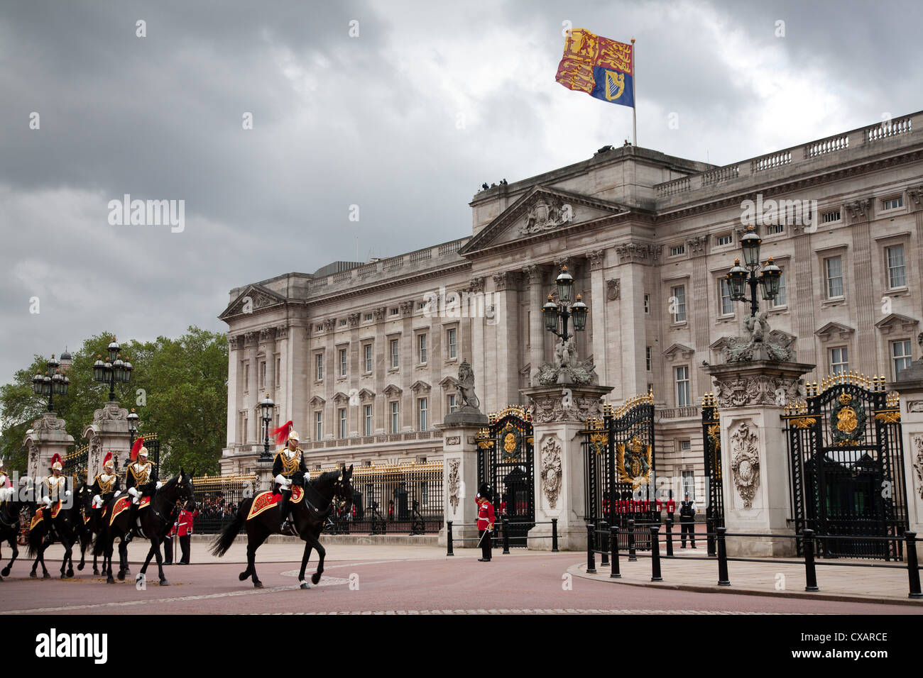 Household Cavalry at the 2012 Trooping the Colour ceremony on the Mall and at Buckingham Palace, London, England, - Stock Image