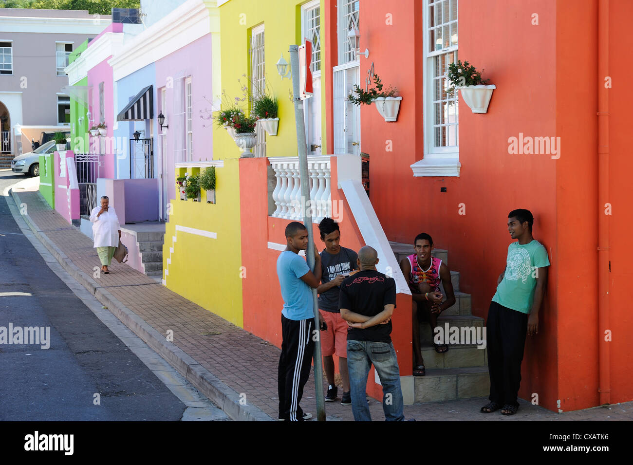 Colourful houses, Bo-Cape area, Malay inhabitants, Cape Town, South Africa, Africa - Stock Image
