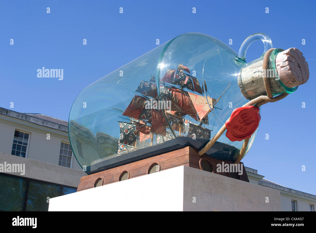 Ship in a bottle at the Greenwich Maritime Museum, Greenwich, London, England, United Kingdom, Europe - Stock Image