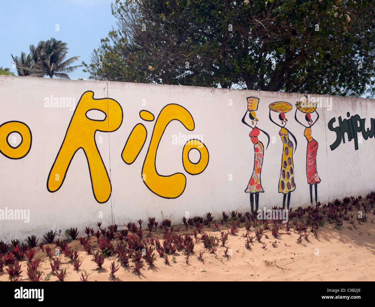 Mural on wall at Ponta do Ouro, southern Mozambique. - Stock Image
