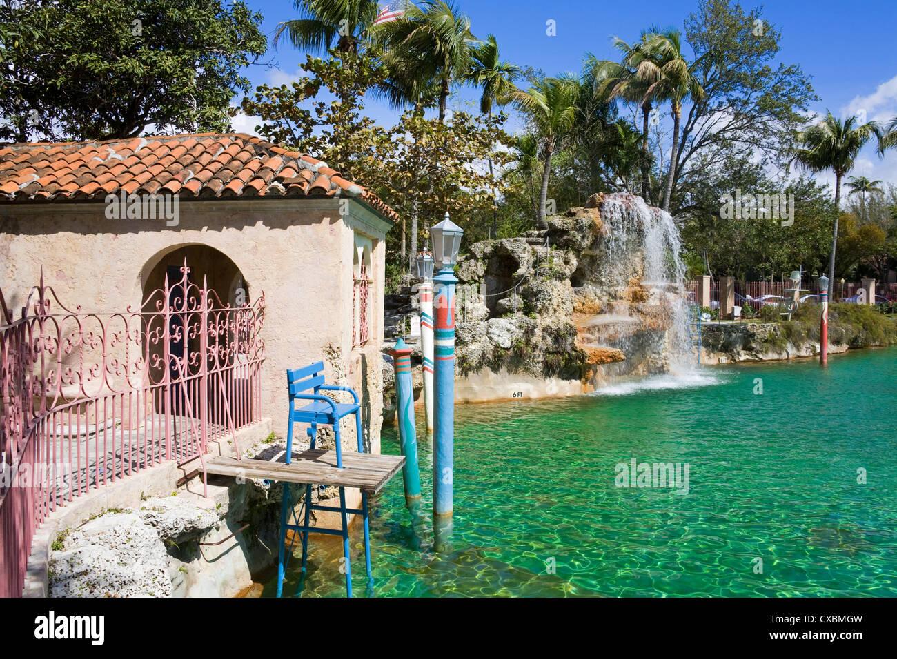 Venetian Pool, Coral Gables, Miami, Florida, United States of America, North America - Stock Image