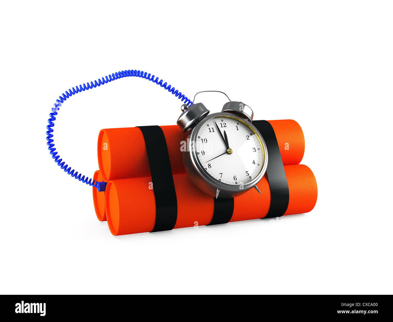 Timebomb made of dynamite isolated on white 3d render - Stock Image