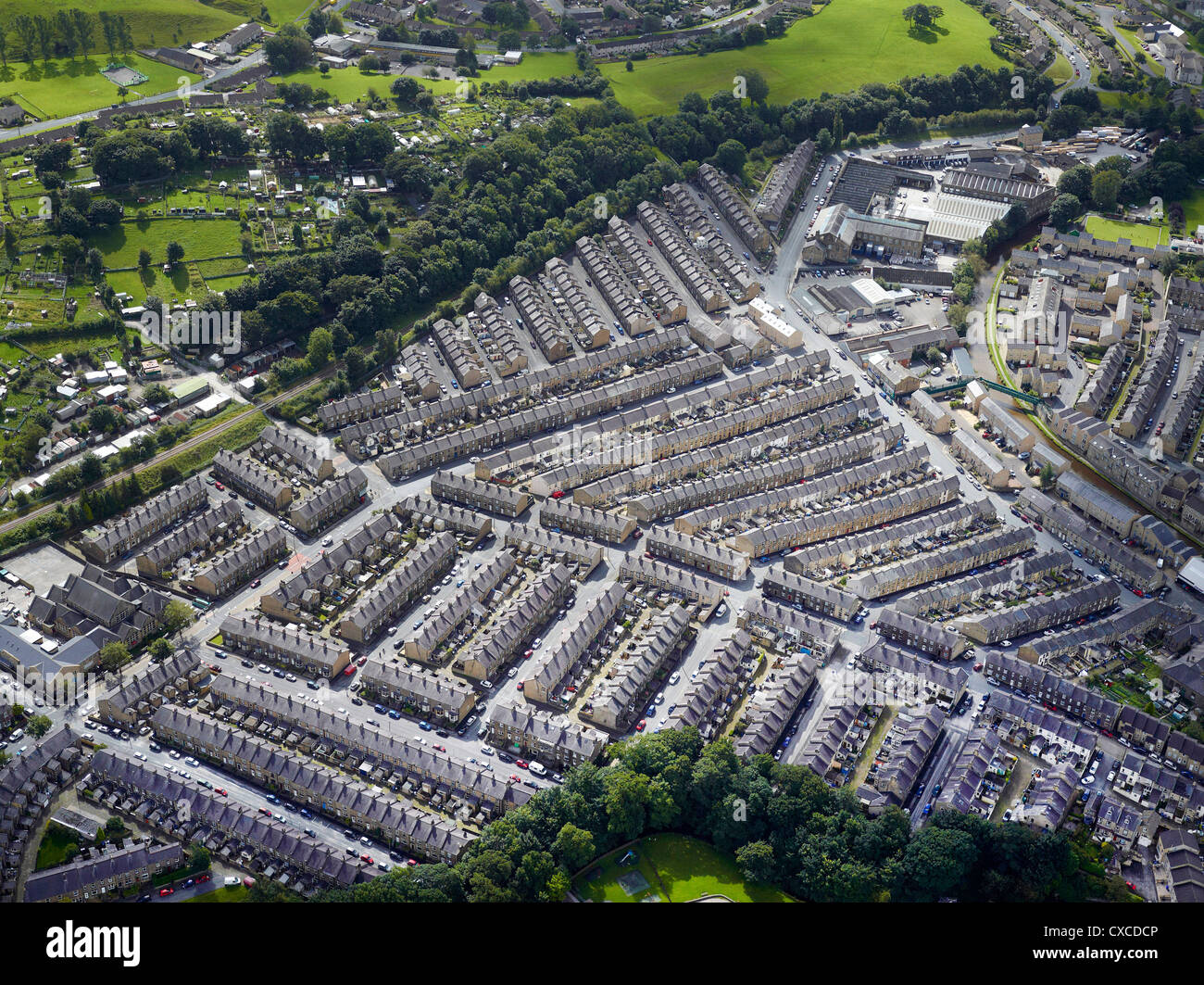 Rows of Terrace houses, Skipton North Yorkshire, Northern England UK - Stock Image