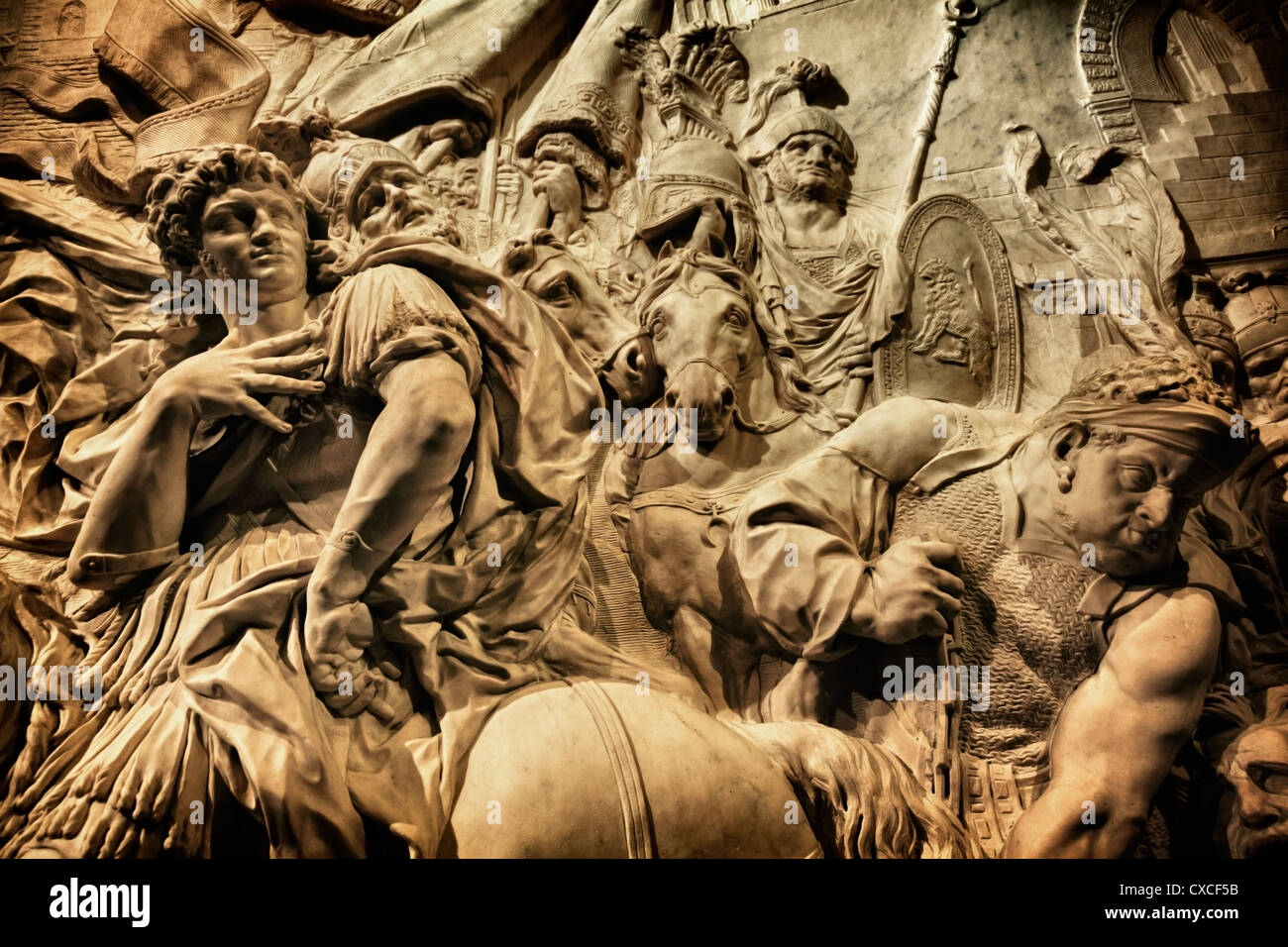Wall sculpture in Richelieu section of Louvre, Paris - Stock Image