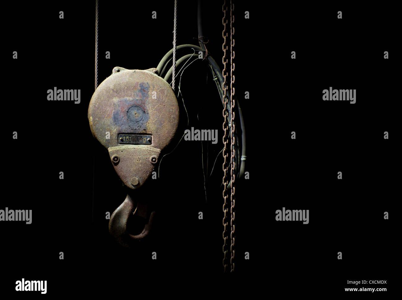 Rusty hoist - Stock Image