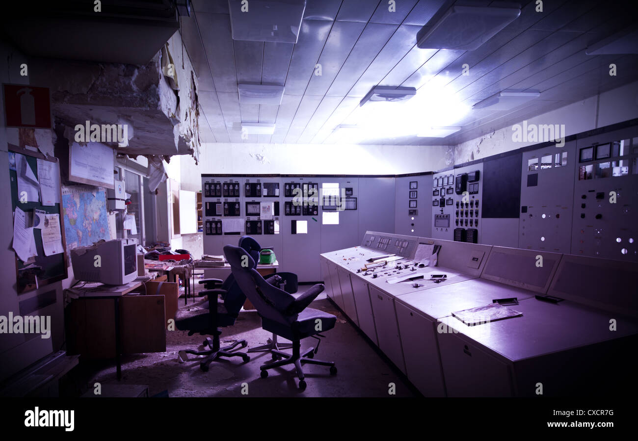 The control room of an abandoned power station - Stock Image