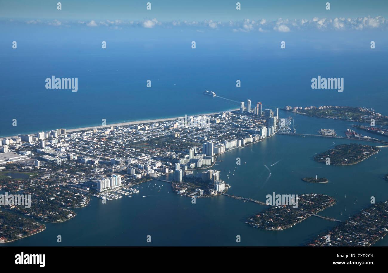 Aerial view of Miami Beach, Florida, United States of America, North America - Stock Image