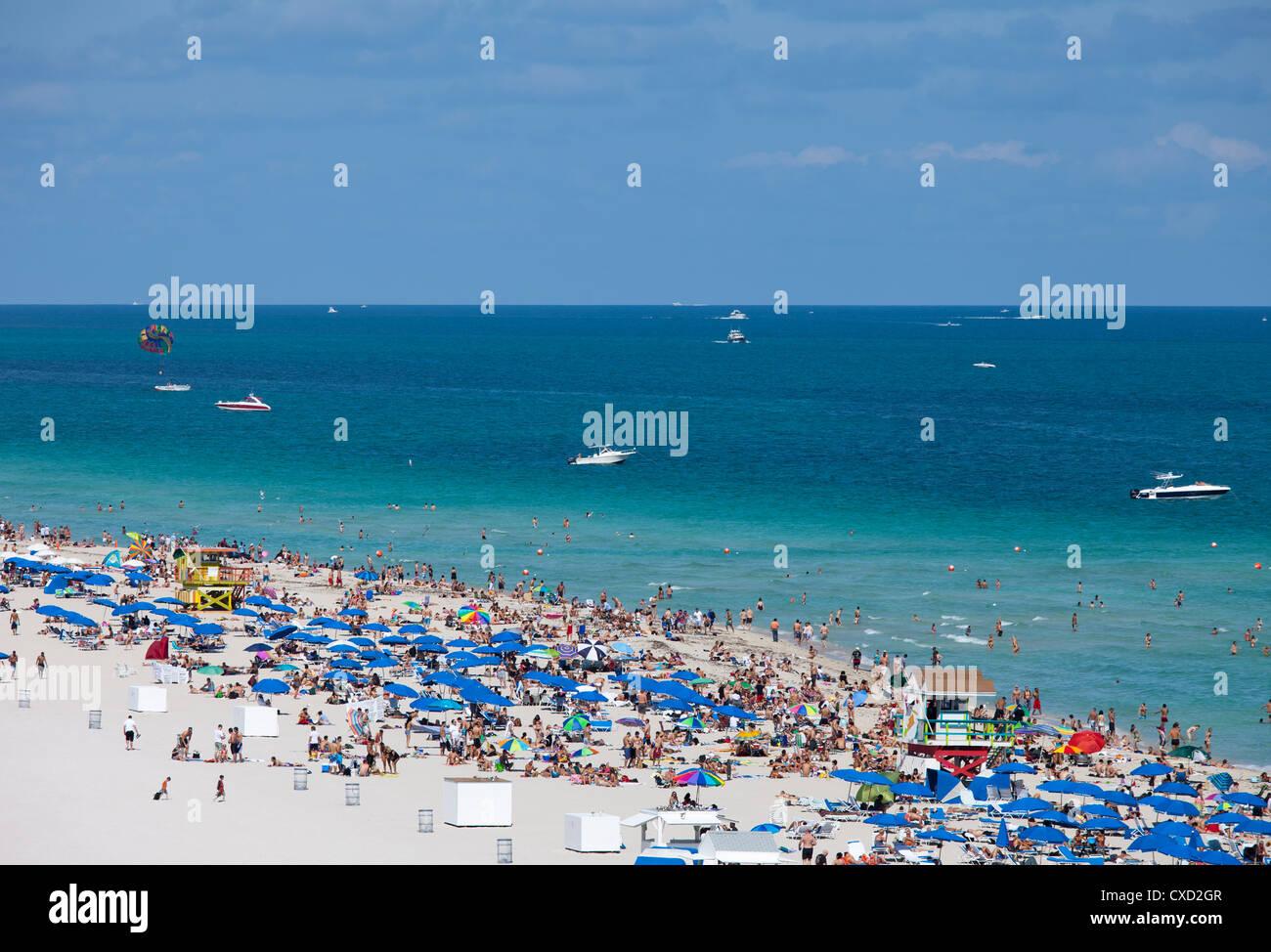 Crowded beach, South Beach, Miami Beach, Florida, United States of America, North America - Stock Image