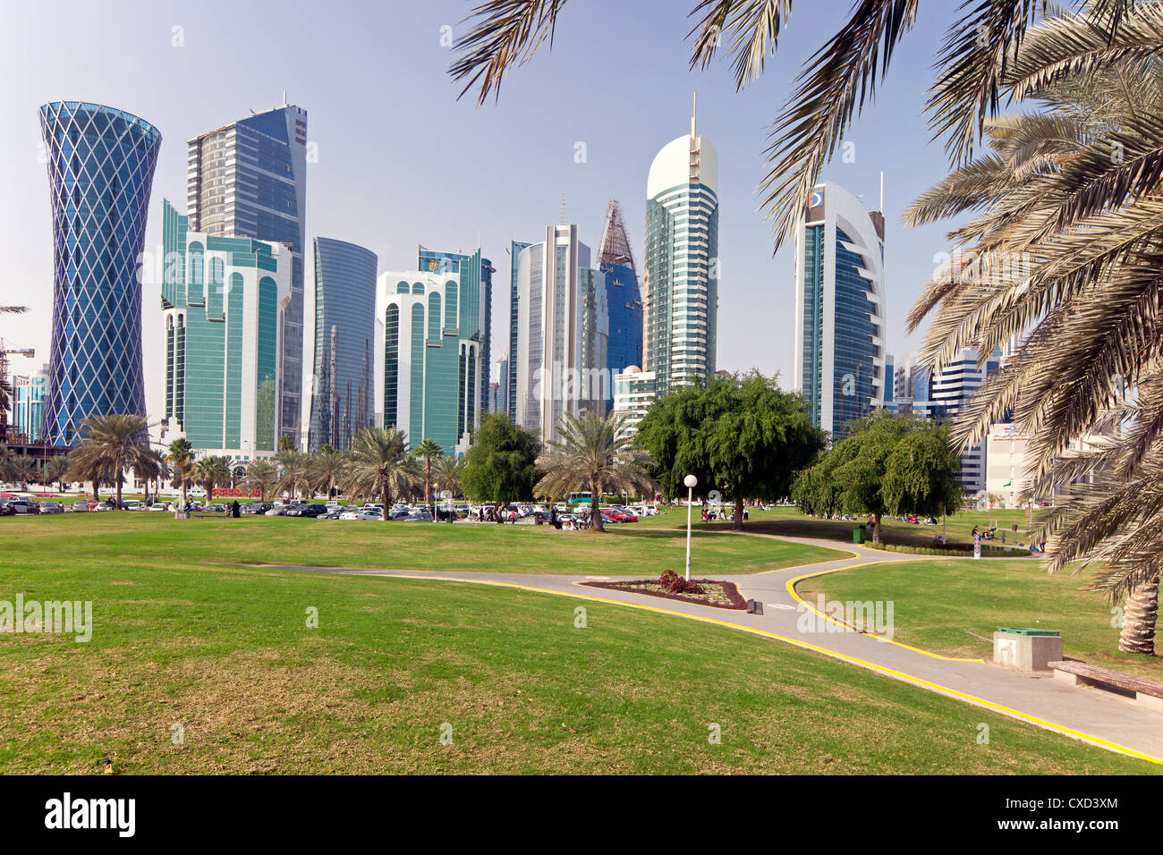 Modern skyline of the West Bay central financial district, Doha, Qatar, Middle East - Stock Image