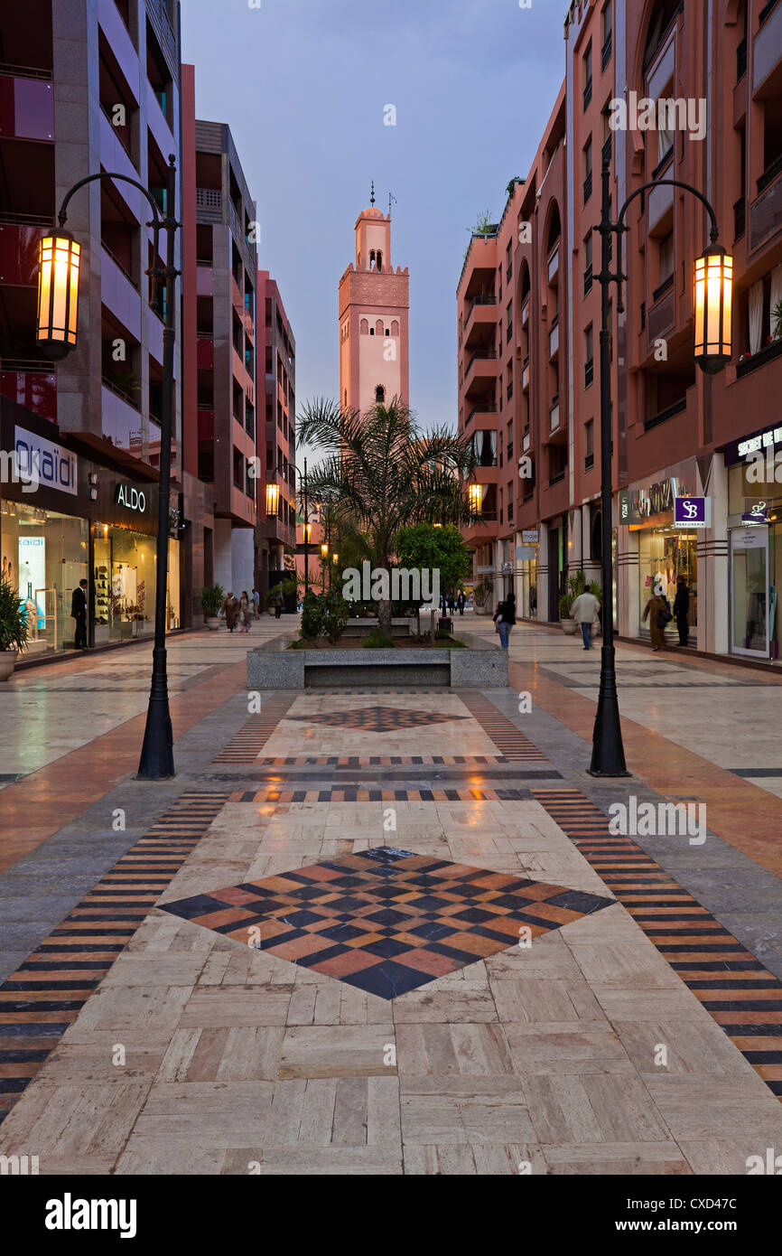 New shopping center and apartments in the wealthy area of Gueliz in Marrakesh, Morocco, North Africa, Africa - Stock Image