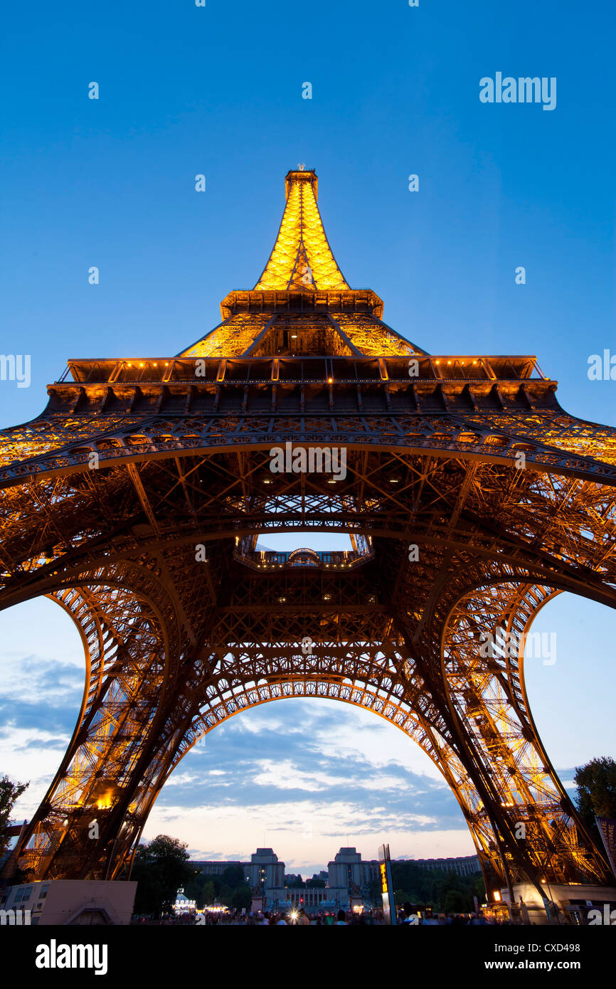 View upwards from underneath the Eiffel Tower, Paris, France, Europe - Stock Image