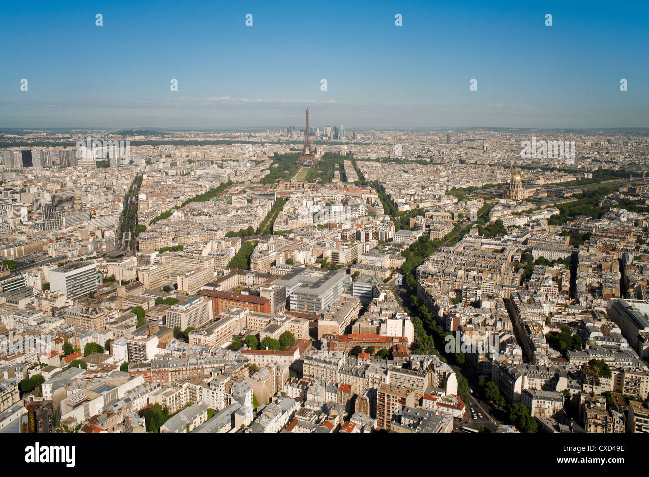 View of city with the Eiffel Tower in distance, from the Tour Montparnasse, Paris, France, Europe - Stock Image