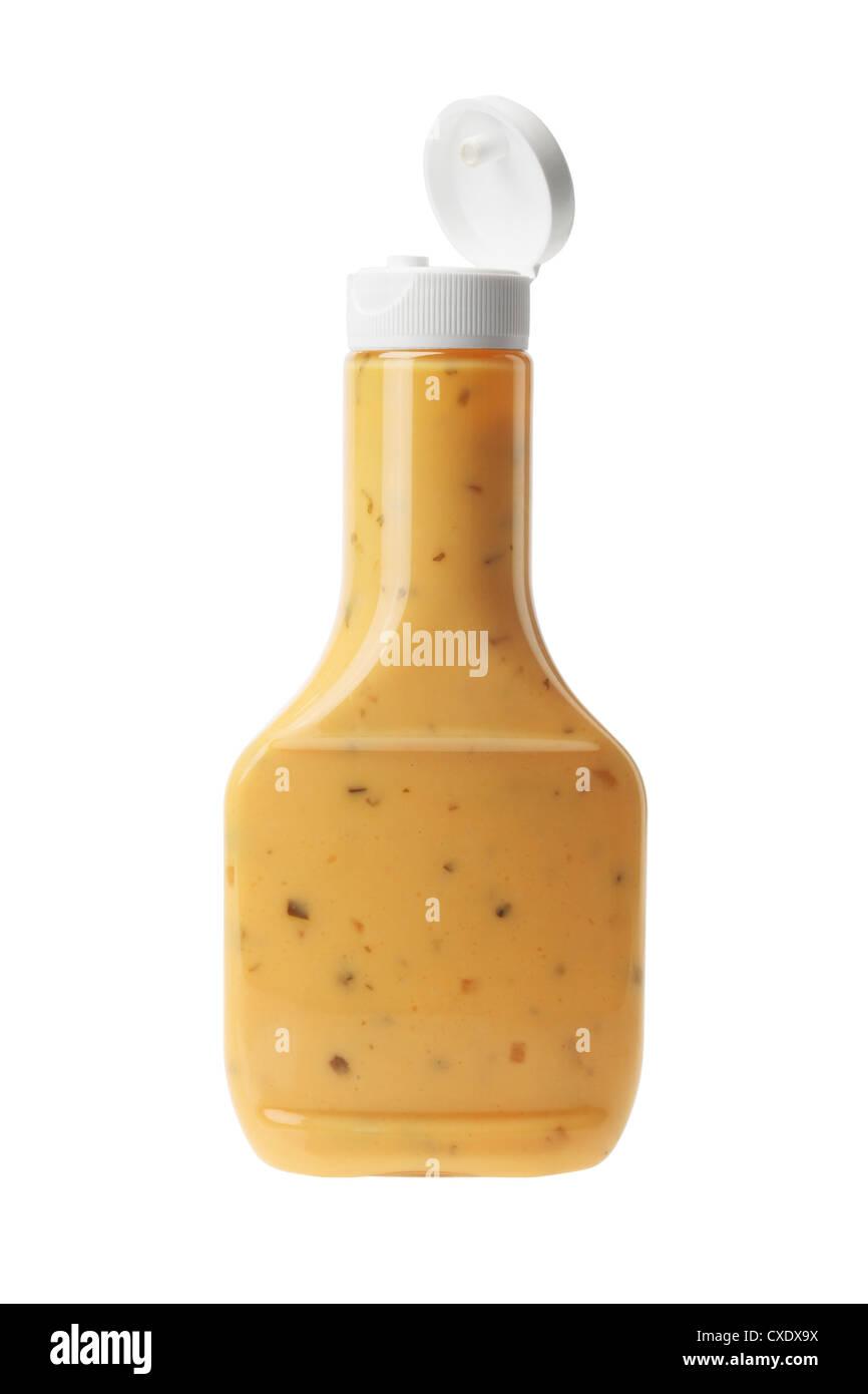 Bottle of Thousand Island Salad Dressing on White Background - Stock Image