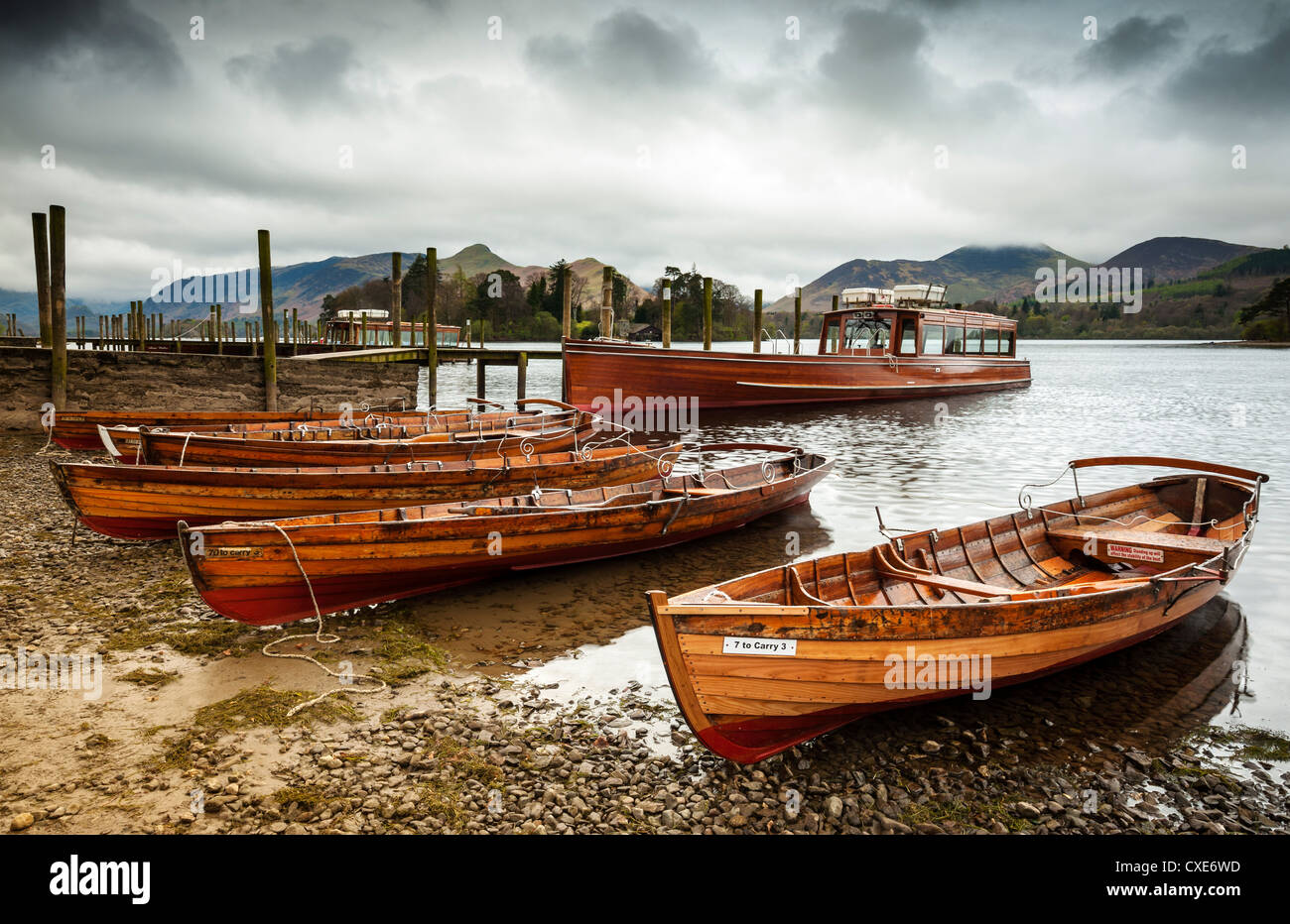 Keswick launch boats, Derwent Water, Lake District National Park, Cumbria, England - Stock Image