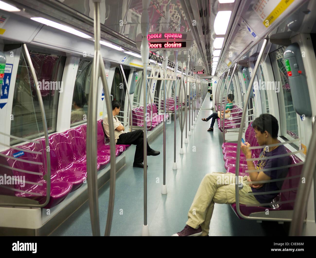 Mass Rapid Transit (MRT) Interior of carriage, Singapore - Stock Image