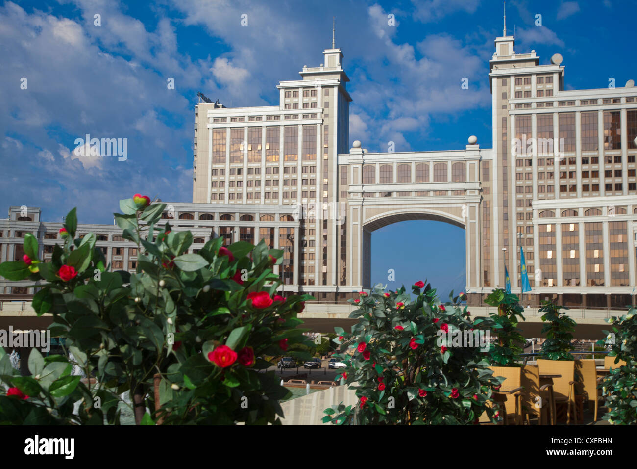 KazMunaiGas building home to the Oil and Gas Ministry, Astana, Kazakhstan, Central Asia, Asia - Stock Image